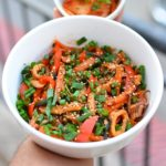 Spicy Squid and Vegetable Stir-Fry (with vegetarian option) https://www.shaliniadams.com/spicy-squid-vegetable-stir-fry-vegetarian-option #recipe #seafood #stirfry #quick #easy #healthy